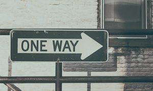 One Way Traffic Sign metaphor for marijuana seo